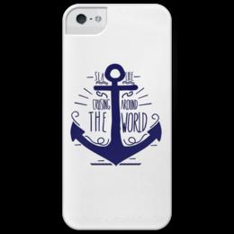 """Чехол для iPhone 5 глянцевый, с полной запечаткой """"Якорь"""" - арт, лето, популярные, море, якорь, отдых, в подарок, пляж, моряк, круиз"""