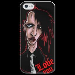 "Чехол для iPhone 5 глянцевый, с полной запечаткой ""Менсон"" - marilyn manson, goth, metal, мэрилин мэнсон, glam rock, shock rock"