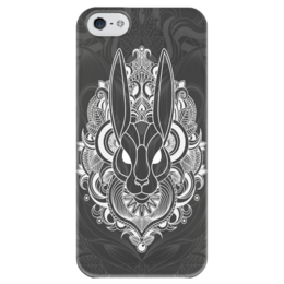 """Чехол для iPhone 5 глянцевый, с полной запечаткой """"Заяц в узорах"""" - узоры, заяц, bunny, кролик, rabbit"""