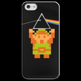 """Чехол для iPhone 5 глянцевый, с полной запечаткой """"The dark side of the Moon Link"""" - pixel art, link, the legend of zelda, пиксельная графика"""