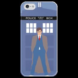 """Чехол для iPhone 5 глянцевый, с полной запечаткой """"Доктор Кто и ТАРДИС / Doctor Who & TARDIS"""" - doctor who, tardis, доктор кто, дэвид теннант"""