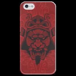 "Чехол для iPhone 5 глянцевый, с полной запечаткой ""Самурай 2"" - маска, самурай, япония"