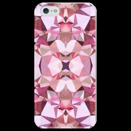 """Чехол для iPhone 5 глянцевый, с полной запечаткой """"Бутон"""" - белый, бордовый, розовый"""
