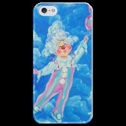 """Чехол для iPhone 5 глянцевый, с полной запечаткой """"Клоун"""" - облака, для детей, воздушный шарик, клоун"""