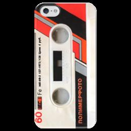 """Чехол для iPhone 5 глянцевый, с полной запечаткой """"кассета """" - ретро, кассета, tape, cassette, аудиокассета"""