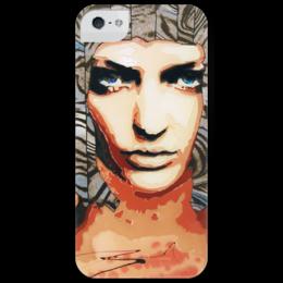 """Чехол для iPhone 5 глянцевый, с полной запечаткой """"Blue Mystery"""" - арт, девушка, blue eyes"""