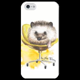 "Чехол для iPhone 5 глянцевый, с полной запечаткой ""Ёж на стульчике"" - арт, животные, желтый, еж, artberry, yellow, hedgehog"