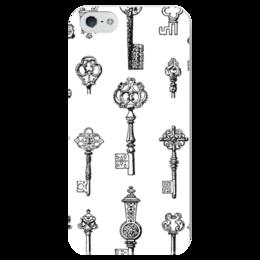 """Чехол для iPhone 5 глянцевый, с полной запечаткой """"Тайный ключ"""" - белый, черный, ключ, ключи"""