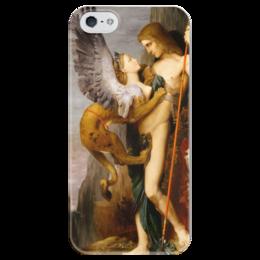 """Чехол для iPhone 5 глянцевый, с полной запечаткой """"Эдип и сфинкс (Гюстав Моро)"""" - картина, сюрреализм, миф, лувр, моро"""