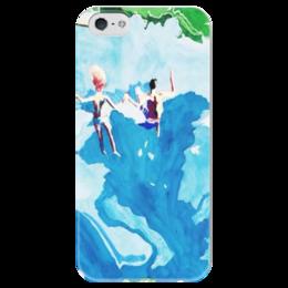 """Чехол для iPhone 5 глянцевый, с полной запечаткой """"Прыжок счастья"""" - праздник, любовь, в подарок, картина"""