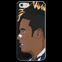 """Чехол для iPhone 5 глянцевый, с полной запечаткой """"Футболист Neymar"""" - футбол, спорт, football, fc barcelona, неймар, neymar"""