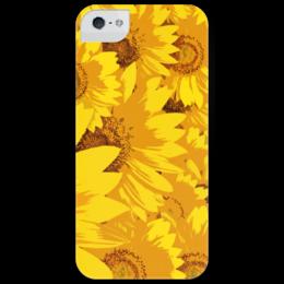 """Чехол для iPhone 5 глянцевый, с полной запечаткой """"Подсолнухи"""" - цветы, подсолнухи, sunflower, summer, yellow, лето"""