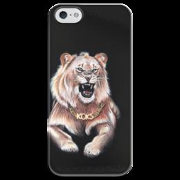 """Чехол для iPhone 5 глянцевый, с полной запечаткой """"Kokss"""" - арт, лев, рисунок, king, lion, roar, рев"""