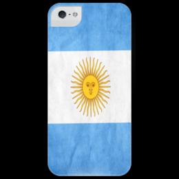 "Чехол для iPhone 5 глянцевый, с полной запечаткой ""Флаг Аргентины"" - футбол, флаг, панель, аргентина, flag, football, argentina"