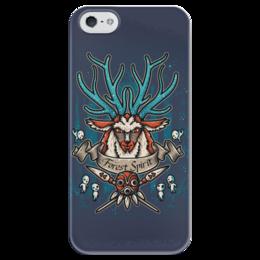 """Чехол для iPhone 5 глянцевый, с полной запечаткой """"Forest Spirit. Лесной Дух"""" - рисунок, олень, фэнтэзи, лесной дух"""