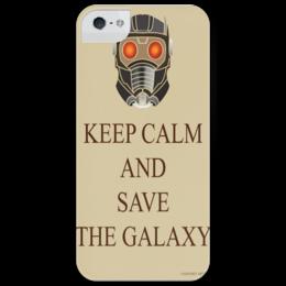 """Чехол для iPhone 5 глянцевый, с полной запечаткой """"Keep Calm And Save The Galaxy"""" - keep calm, star lord, guardians of the galaxy, стражи галактики, звёздный лорд, film, marvel"""