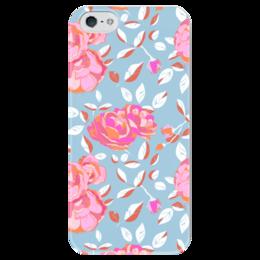 """Чехол для iPhone 5 глянцевый, с полной запечаткой """"Roses on blue"""" - арт, роза, паттерн, blue, roses"""