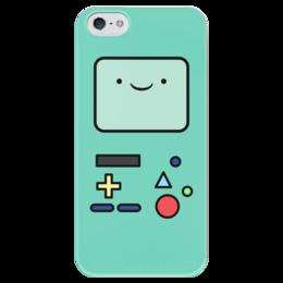 """Чехол для iPhone 5 глянцевый, с полной запечаткой """"БиМО. Время Приключений"""" - бимо, bmo, adventure time, время приключений"""