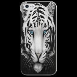 """Чехол для iPhone 5 глянцевый, с полной запечаткой """"Белый тигр"""" - тигр, животные, природа, хищник, зверь"""