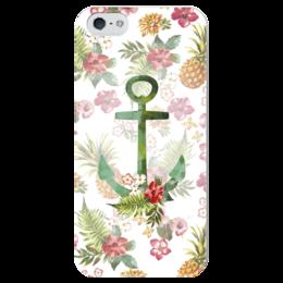 """Чехол для iPhone 5 глянцевый, с полной запечаткой """"Гавайи"""" - лето, море, якорь, пляж, гавайи"""