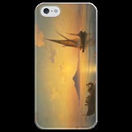 """Чехол для iPhone 5 глянцевый, с полной запечаткой """"Неаполитанский залив"""" - картина, айвазовский"""