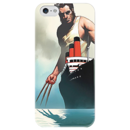 "Чехол для iPhone 5 глянцевый, с полной запечаткой ""Wolverine"" - арт, comics, росомаха, marvel, superhero"