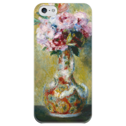 """Чехол для iPhone 5 глянцевый, с полной запечаткой """"Букет в вазе"""" - картина, ренуар"""