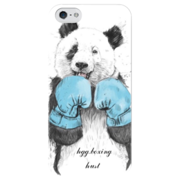 """Чехол для iPhone 5 глянцевый, с полной запечаткой """"боксер мишка"""" - мишка, бокс"""
