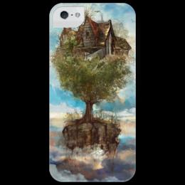 "Чехол для iPhone 5 глянцевый, с полной запечаткой ""фэнтази"" - арт, tree, house, sky, clouds, облака, дом"