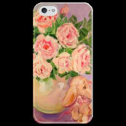 """Чехол для iPhone 5 глянцевый, с полной запечаткой """"Розовая нежность! Funny Smile"""" - девушка, цветы, женская, розы, roses, букет"""