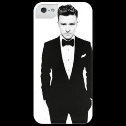 """Чехол для iPhone 5 глянцевый, с полной запечаткой """"President of pop"""" - арт, pop, поп, танцевальная, джастин тимберлейк, justin timberlake, suit, black n white"""