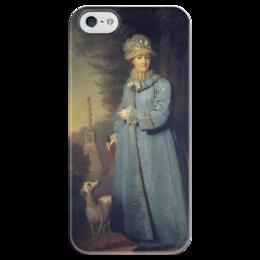 """Чехол для iPhone 5 глянцевый, с полной запечаткой """"Екатерина II на прогулке в Царскосельском парке"""" - картина, боровиковский"""