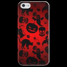 """Чехол для iPhone 5 глянцевый, с полной запечаткой """"Хэллоуин"""" - череп, кот, тыква, приведение, смерт"""