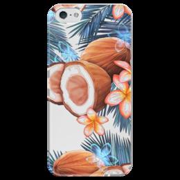 """Чехол для iPhone 5 глянцевый, с полной запечаткой """"Кокосы"""" - кокосы, фрукты, тропики, рисунок"""