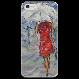 """Чехол для iPhone 5 глянцевый, с полной запечаткой """"Девушка в красном"""" - красиво, красота, в городе, на каблуках, стройная девушка"""