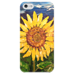 "Чехол для iPhone 5 глянцевый, с полной запечаткой ""sunflower "" - небо, природа, поле, подсолнух, sunflower, tm kiseleva, yellow"