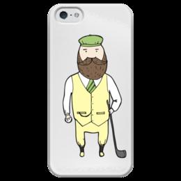 """Чехол для iPhone 5 глянцевый, с полной запечаткой """"Джентльмен с клюшкой для гольфа"""" - мяч, борода, джентльмен, гольф, клюшка"""