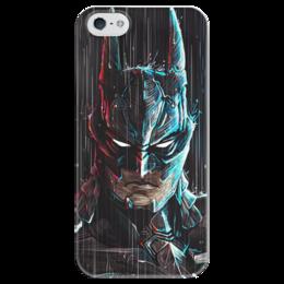"""Чехол для iPhone 5 глянцевый, с полной запечаткой """"Batman"""" - комиксы, batman, dc, бэтмэн, темный рыцарь"""