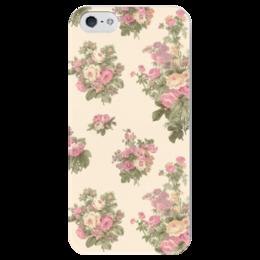 """Чехол для iPhone 5 глянцевый, с полной запечаткой """"Flowers"""" - цветы, винтаж, букет"""