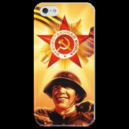 """Чехол для iPhone 5 глянцевый, с полной запечаткой """"Великая победа"""" - ссср, война, победа, история, 1945"""