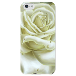 """Чехол для iPhone 5 глянцевый, с полной запечаткой """"Белая роза"""" - арт, white, цветы, rose, роза"""