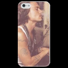 """Чехол для iPhone 5 глянцевый, с полной запечаткой """"Johnny Depp"""" - джонни депп, johnny depp"""