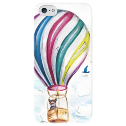 "Чехол для iPhone 5 глянцевый, с полной запечаткой ""Следуй за мечтой!"" - кот, арт, мечта, dream, воздушный шар, air balloon, artberry"
