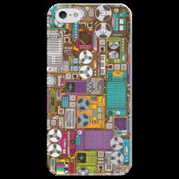 """Чехол для iPhone 5 глянцевый, с полной запечаткой """"Аппаратура"""" - музыка, звук, магнитофон, аппаратура"""