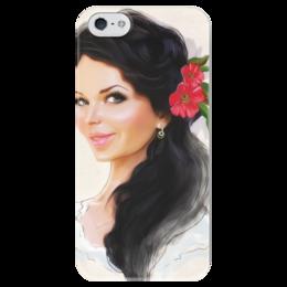 """Чехол для iPhone 5 глянцевый, с полной запечаткой """"Девушка с цветком"""" - любовь, арт, девушка, red, girl, flower, рисунок, beautiful"""