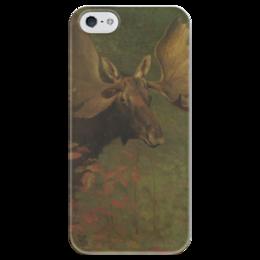 """Чехол для iPhone 5 глянцевый, с полной запечаткой """"Лось (Study of a moose)"""" - картина, бирштадт"""