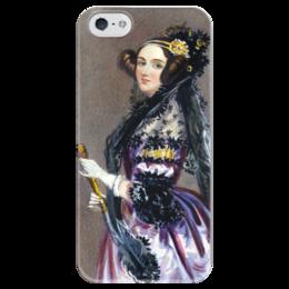 """Чехол для iPhone 5 глянцевый, с полной запечаткой """"Акварельный портрет Ады Лавлейс"""" - картина, шалон"""