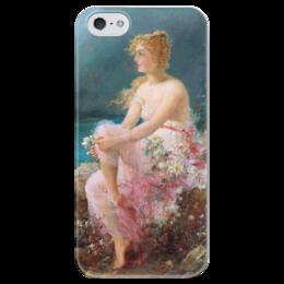 """Чехол для iPhone 5 глянцевый, с полной запечаткой """"Водяные лилии"""" - картина, зацка"""
