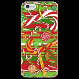 """Чехол для iPhone 5 глянцевый, с полной запечаткой """"Карамельное настроение"""" - конфеты, рождество, карамель"""