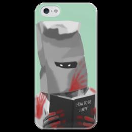 """Чехол для iPhone 5 глянцевый, с полной запечаткой """"How to be Happy"""" - прикол, арт, зомби, iphone, стильно"""
